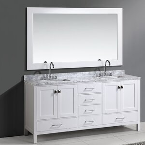 Halcomb 72 Double Bathroom Vanity Set with Mirror Red Barrel Studio
