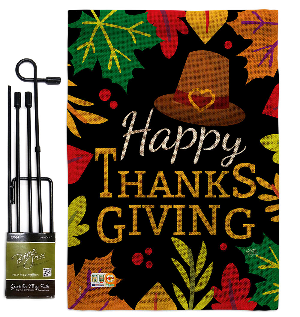 Breeze Decor Happy Thanksgiving Leaves Fall Impressions 2 Sided Polyester 19 X 13 In Flag Set Wayfair
