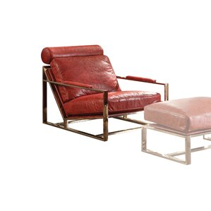 17 Stories Malkesh Top Grain Leather Armchair