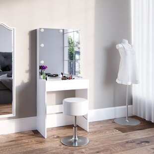 Mele Dressing Table Set With Mirror By Mercury Row