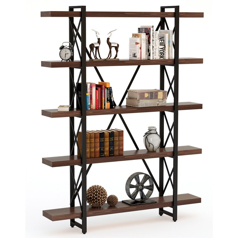 17 Stories 5 Tier Bookcase Solid Wood 5 Shelf Industrial Style Bookcases And Book Shelves Metal And Wood Free Vintage Bookshelf Retro Brown Wayfair Ca