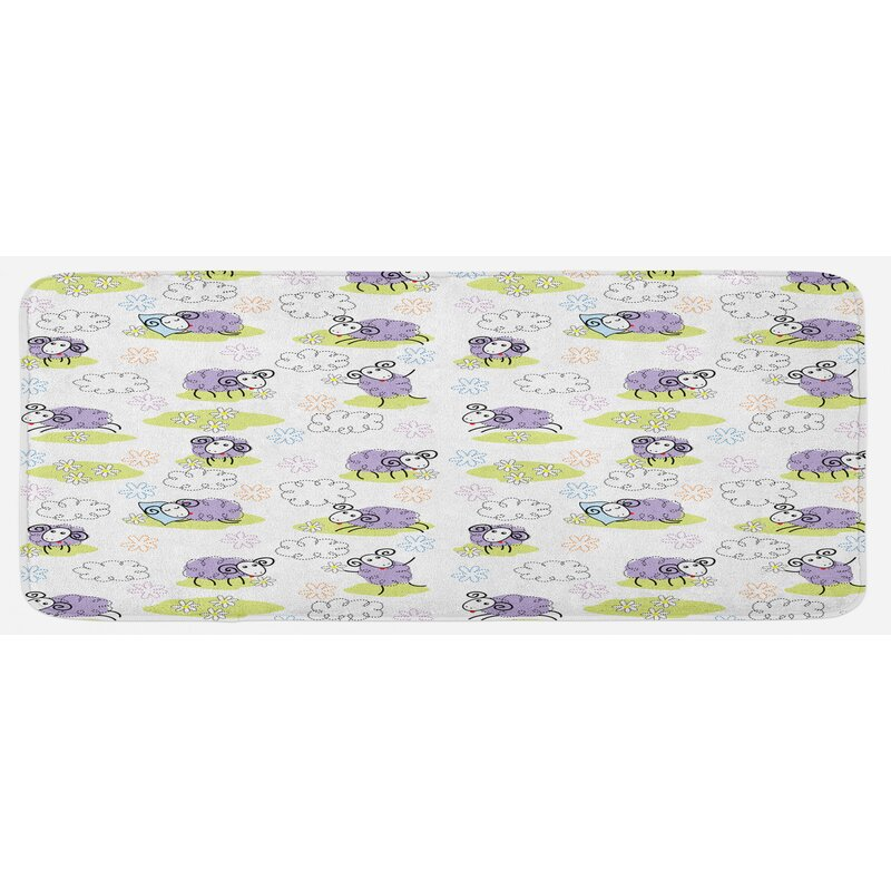 East Urban Home Sheep With Clouds Constructed Out Of Dots Happy Animals Child Friendly Print Lavender Kitchen Mat Wayfair