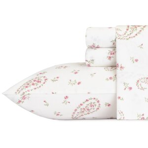 Bristol Paisley 4 Piece 300 Thread Count Cotton Sateen Sheet Set