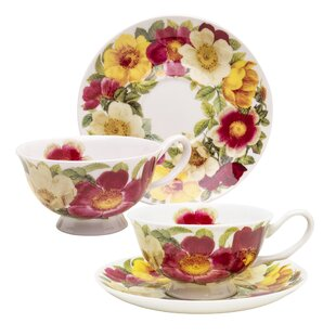 Pomona Spicy Poppy Bone China Teacup and Saucer