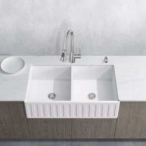 VIGO Aylesbury 36� x 18� Double Bowl Farmhouse Kitchen Sink with Faucet