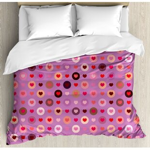 East Urban Home Abstract Love Heart Figures Inside Circular Rounds Valentines Romance Graphic Image Duvet Set