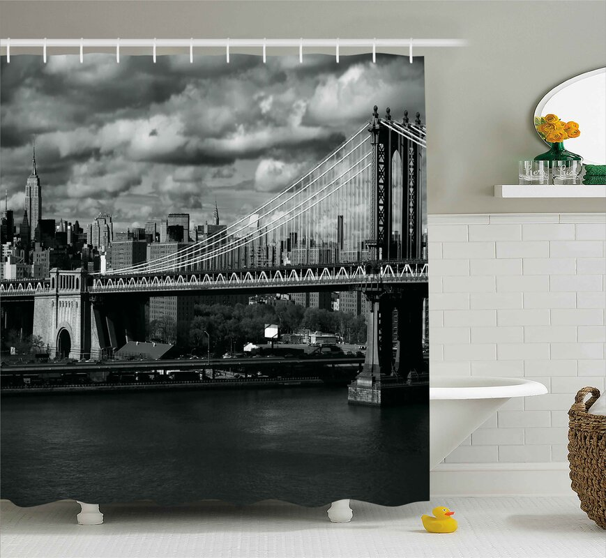 Benton NYC In Black And White Shower Curtain