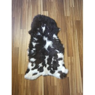Read Reviews Bustamante Spotted Sheepskin/Wool Black Area Rug ByUnion Rustic