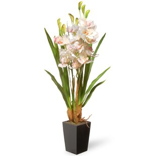 Spring Faux Orchid Flowers In Pot