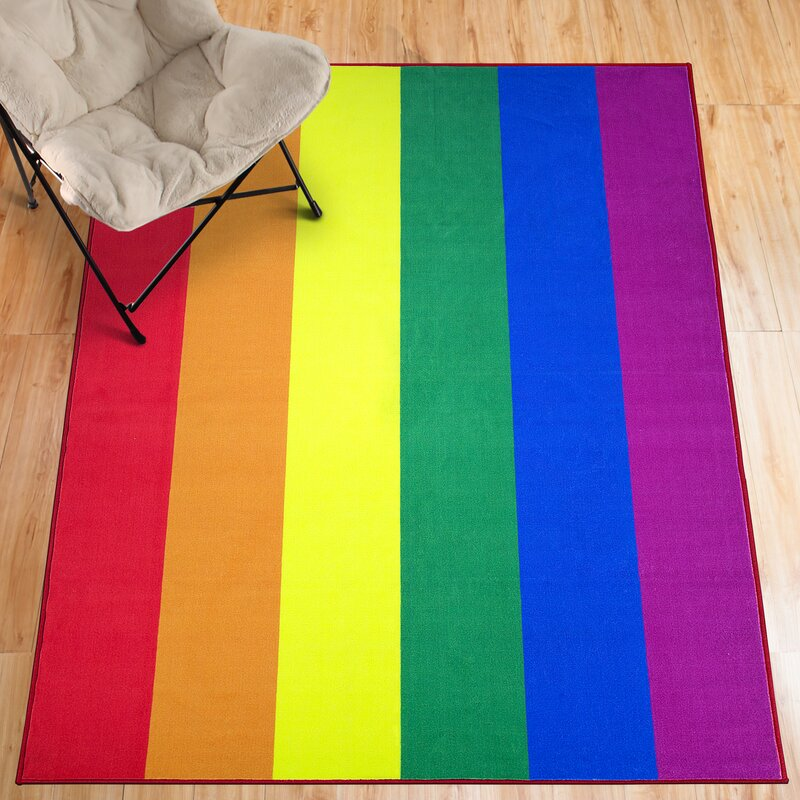Ebern Designs Alvares Pride Flag Non Slip Red Yellow Green Indoor Outdoor Area Rug Wayfair