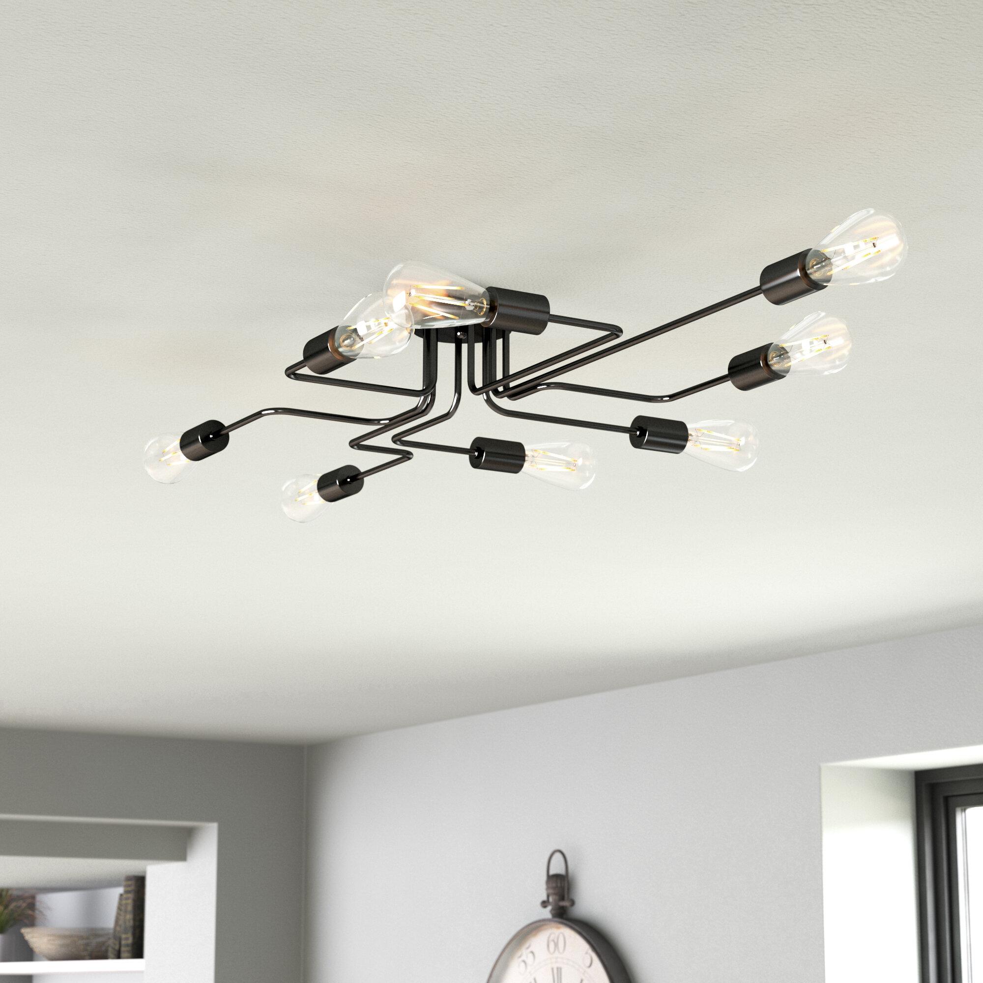 Image of: Trent Austin Design Thibodeau 8 Light 43 3 Sputnik Modern Linear Semi Flush Mount Reviews Wayfair