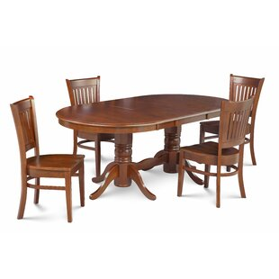 Miriam Solid Wood 5 Piece Extendable Solid Wood Dining Set