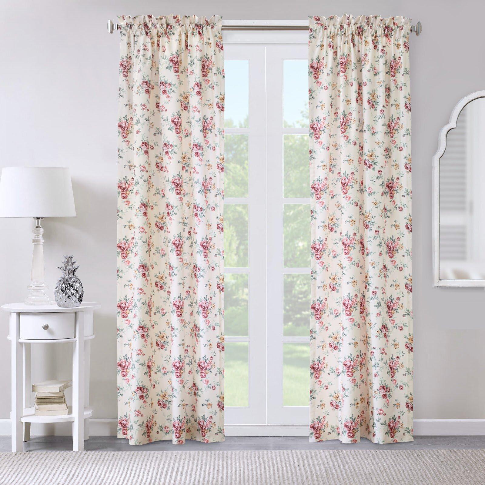 House Of Hampton Pettway Floral Room Darkening Thermal Rod Pocket Curtain Panels Reviews Wayfair