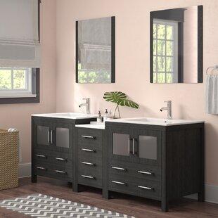 Cartagena 81 Double Bathroom Vanity Set with Mirror by Mercury Row