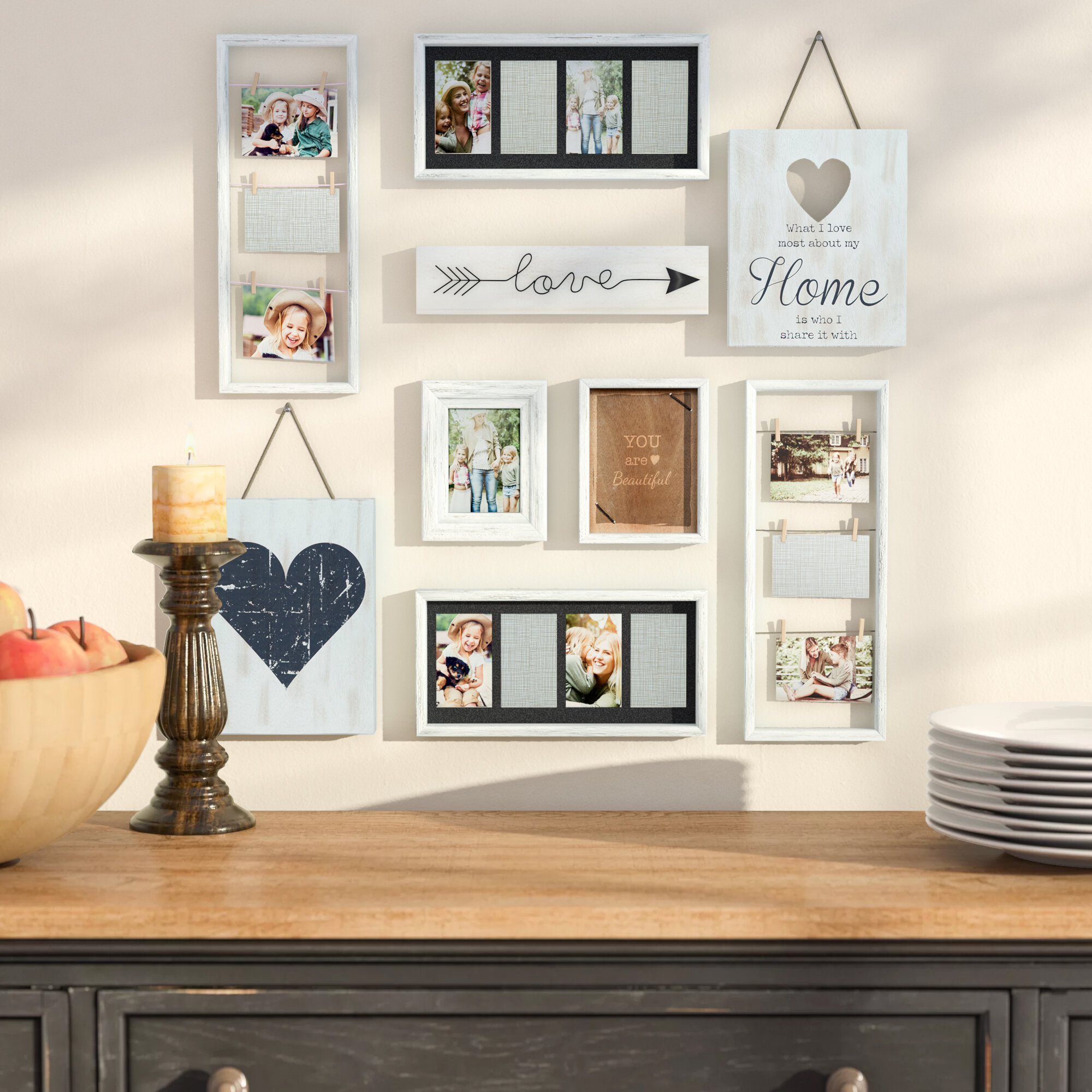 Darby Home Co Broderick 9 Piece Heart Decor Picture Frame Set Reviews