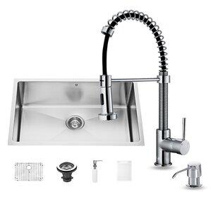 VIGO 30 inch Undermount Single Bowl 16 Gauge Stainless Steel Kitchen Sink with Aylesbury Stainless Steel Faucet, Grid, Str...