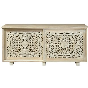 Lemelin Carved Sliding 2 Door Accent Cabinet by Bungalow Rose