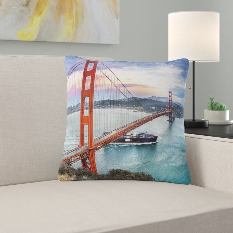 East Urban Home Gate In San Francisco Sea Bridge Pillow Wayfair