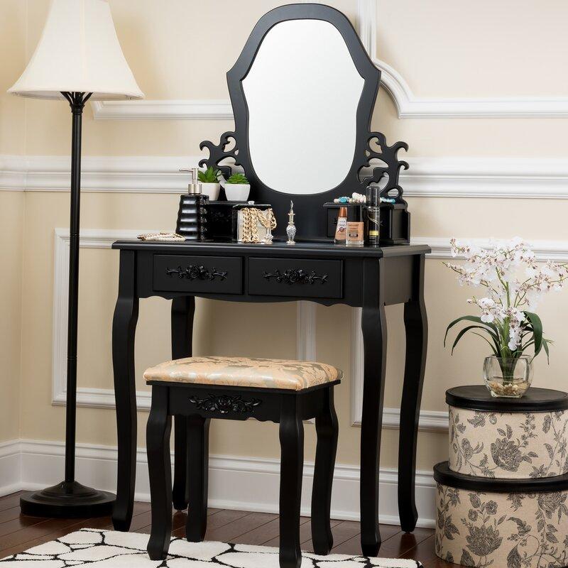 Demello Antique Vanity Set with Mirror - Fleur De Lis Living Demello Antique Vanity Set With Mirror & Reviews