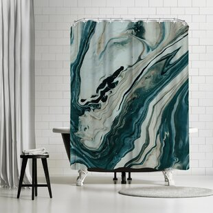 Leah Flores Tranquil Arctic Marble Single Shower Curtain