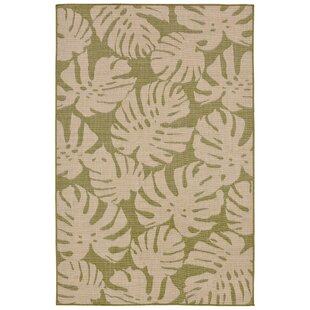 Top Reviews Lambert Fronds Power Loom Green Indoor/Outdoor Area Rug By Bay Isle Home