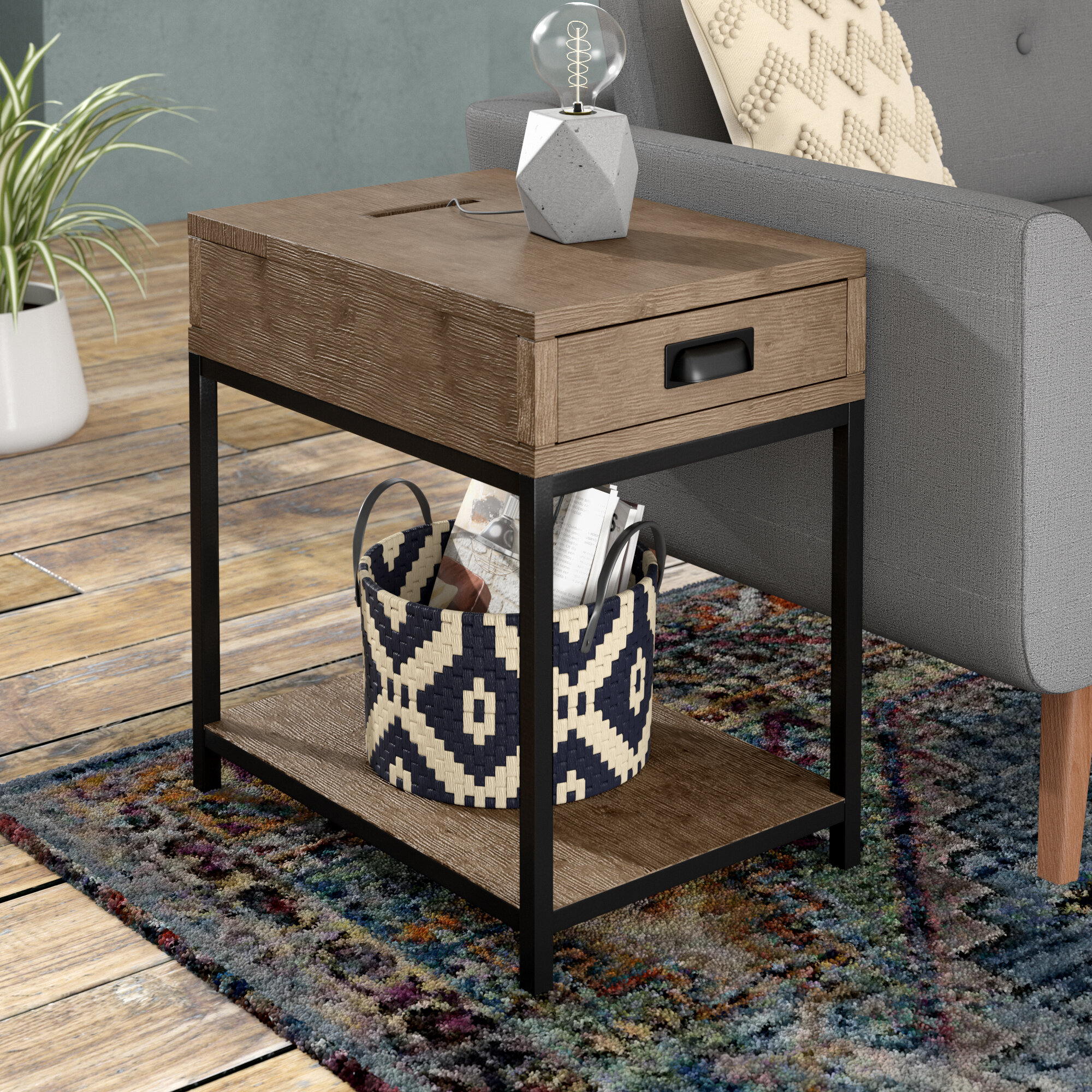 Table A Langer D Angle upson end table with storage