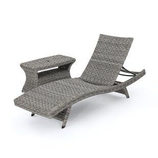 Latitude Run Lebel Reclining Chaise Lounge with Table