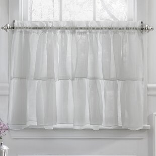 Elegant Crushed Voile Ruffle Kitchen Window Tier Cafe Curtain (Set of 2)