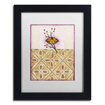 House Of Hampton Golden Butterfly Glimmer Blush Graphic Art Print On Canvas Reviews Wayfair