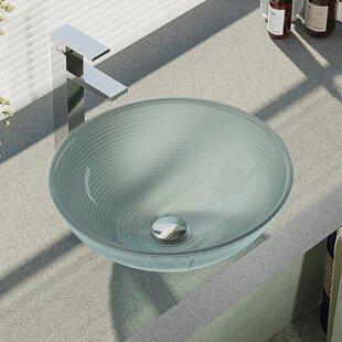 René By Elkay Sparkling Glass Circular Vessel Bathroom Sink with Faucet