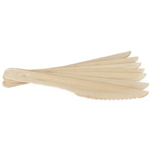 Compostable Eco-Friendly Birchwood Disposable Knives (Set of 100)