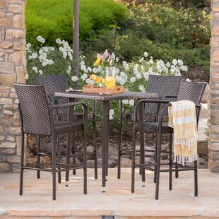 Buitron Outdoor Wicker 5 Piece Pub Table Set