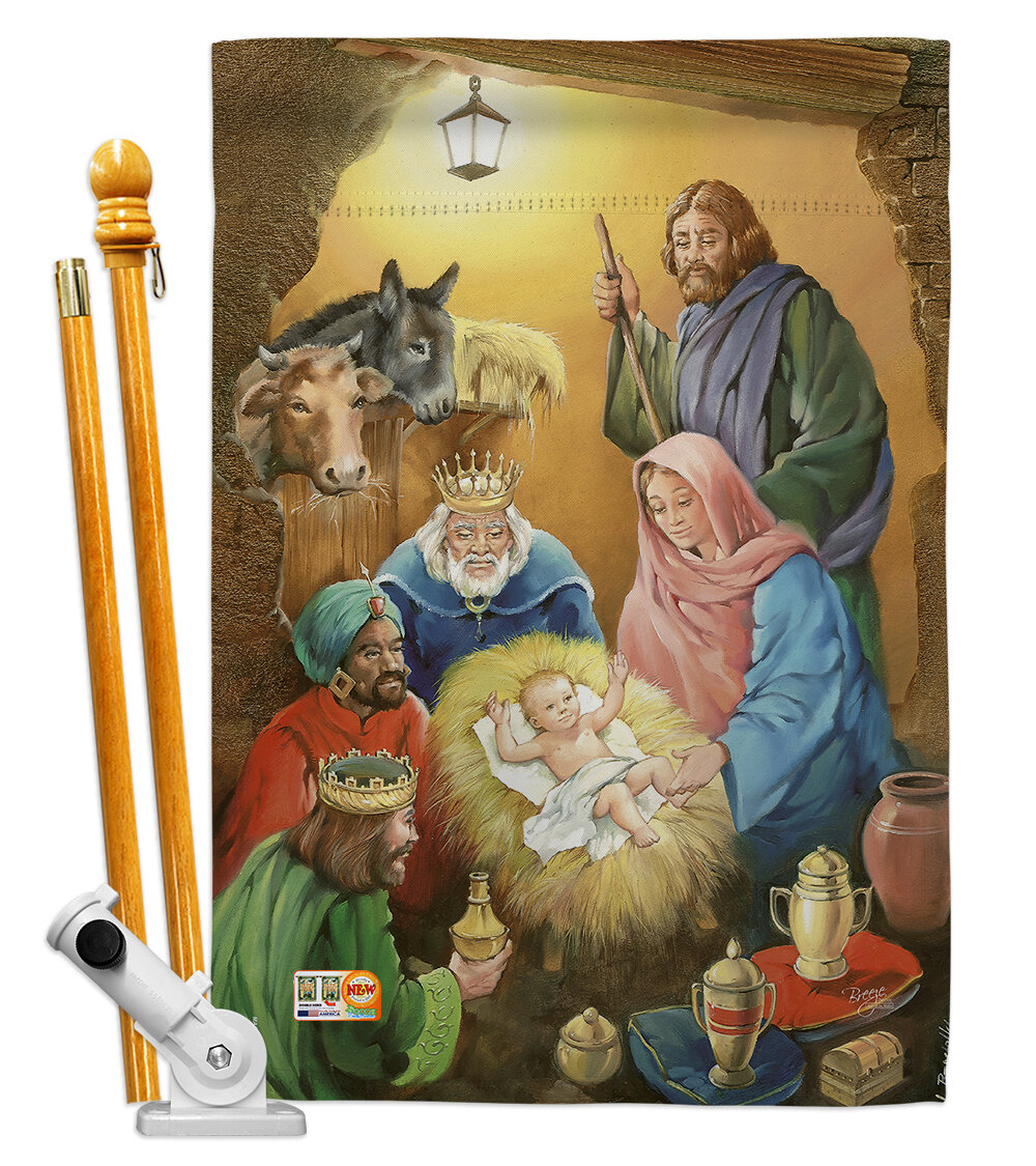Breeze Decor Wise Men Nativity Impressions Decorative 2 Sided Polyester 40 X 28 In Flag Set Wayfair
