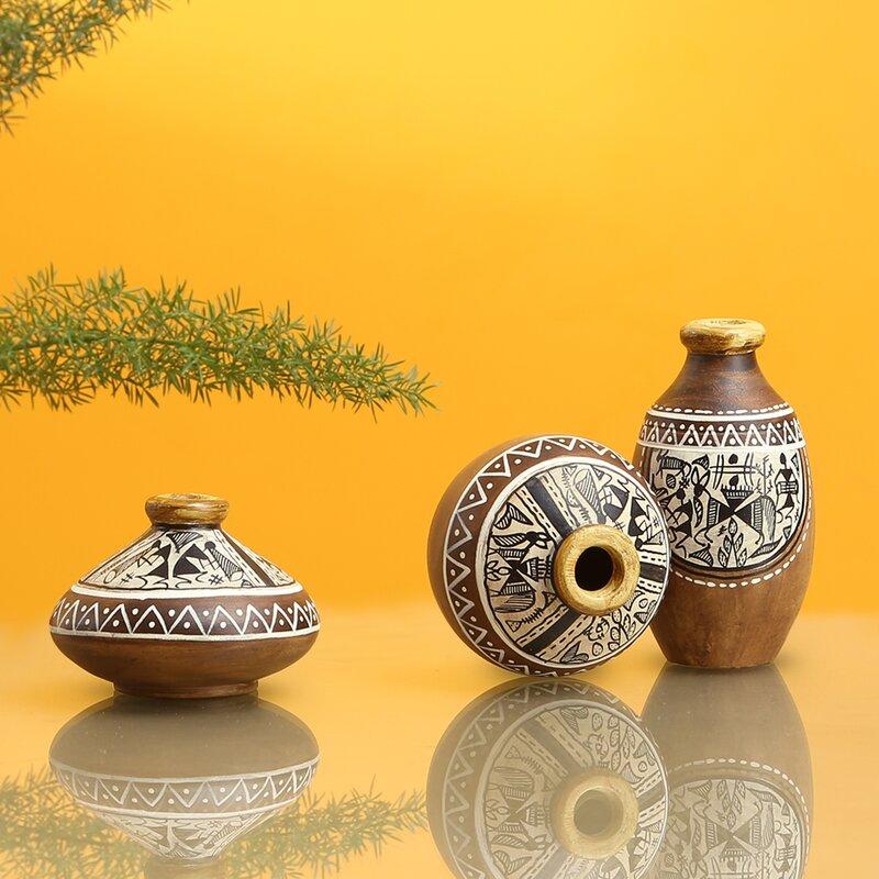 World Menagerie 3 Piece Bookham Natural Mud Brown Terracotta Table Vase Set Wayfair