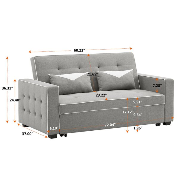 Longshore Tides Darbonne Velvet 72 44 Square Arm Sofa Bed Wayfair