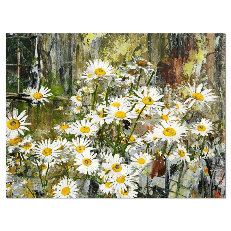 'Daisies Flowers Under the Window' Painting Print on Wrapped Canvas. '