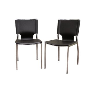 Reams Genuine Leather Upholstered Dining Chair (Set Of 2) by Orren Ellis Best Choicest