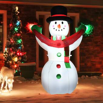 The Holiday Aisle Snowman With Mistletoe Top Hat Scarf Gloves And Buttons Lighted Display Wayfair