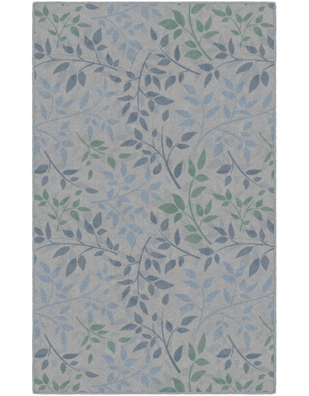 Charlton Home Frida Leaves Floral Blue/Green Area Rug, Size: Rectangle 76 x 10