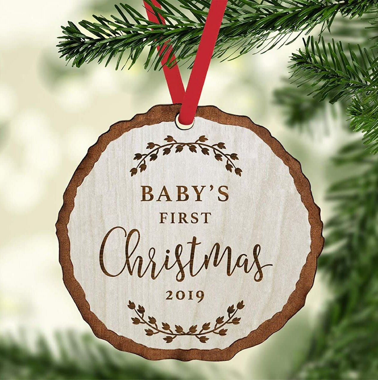 The Holiday Aisle Engraved Wood Slab Keepsake Baby S 1st Christmas Holiday Shaped Ornament Wayfair