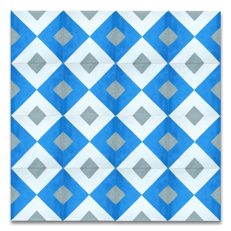 Jadida 8 X Handmade Cement Tile In Blue And White