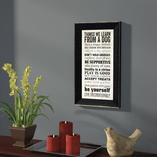 U0027Things We Learn From A Dogu0027 Framed Textual Art