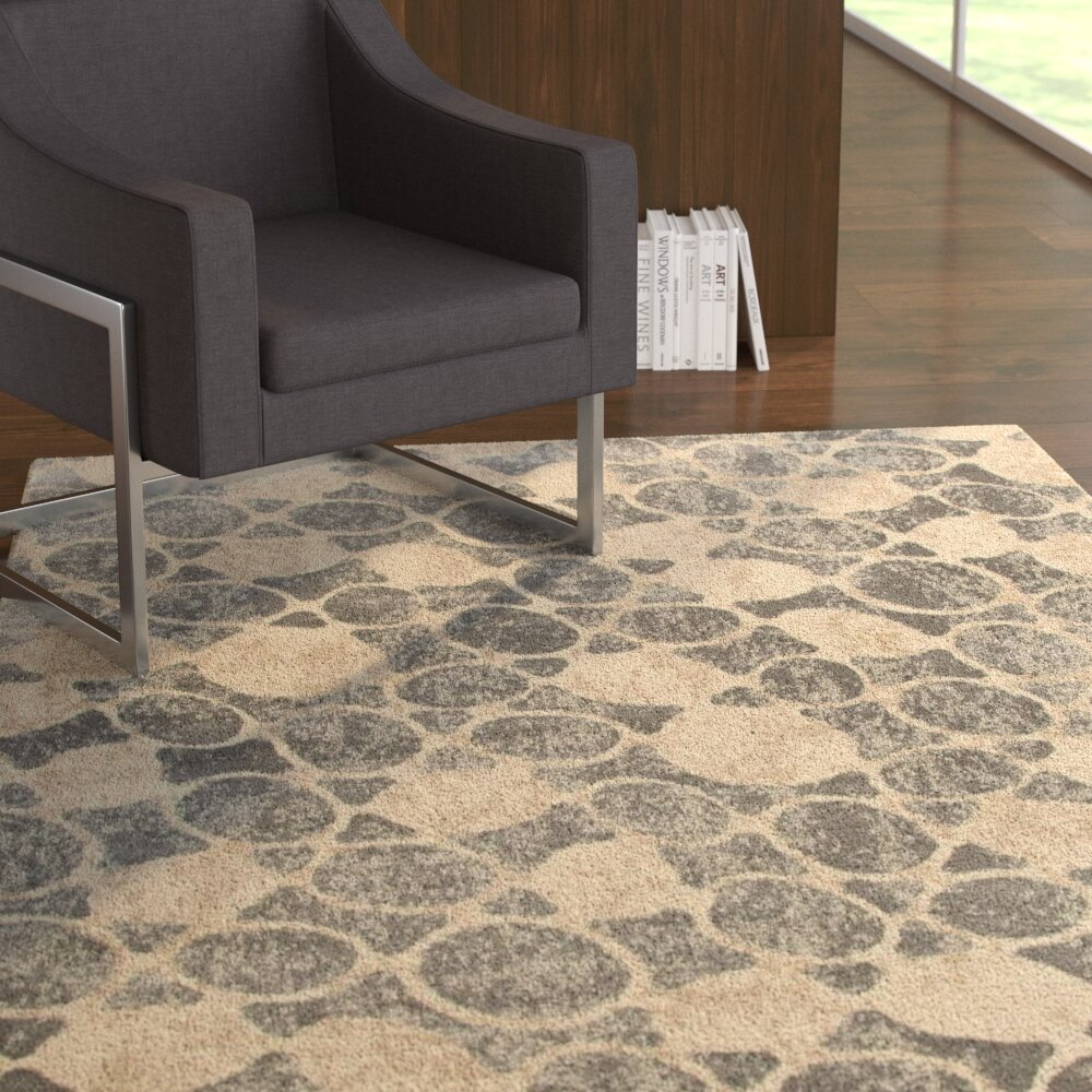 Ebern Designs Toribio Geometric Gray Beige Area Rug Reviews Wayfair