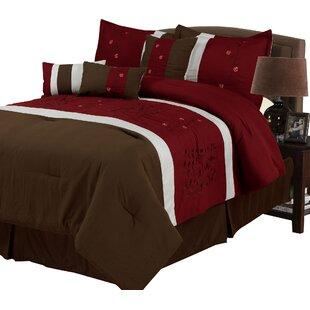 Lavish Home Sarah 7 Piece Comforter Set in Brown & Red