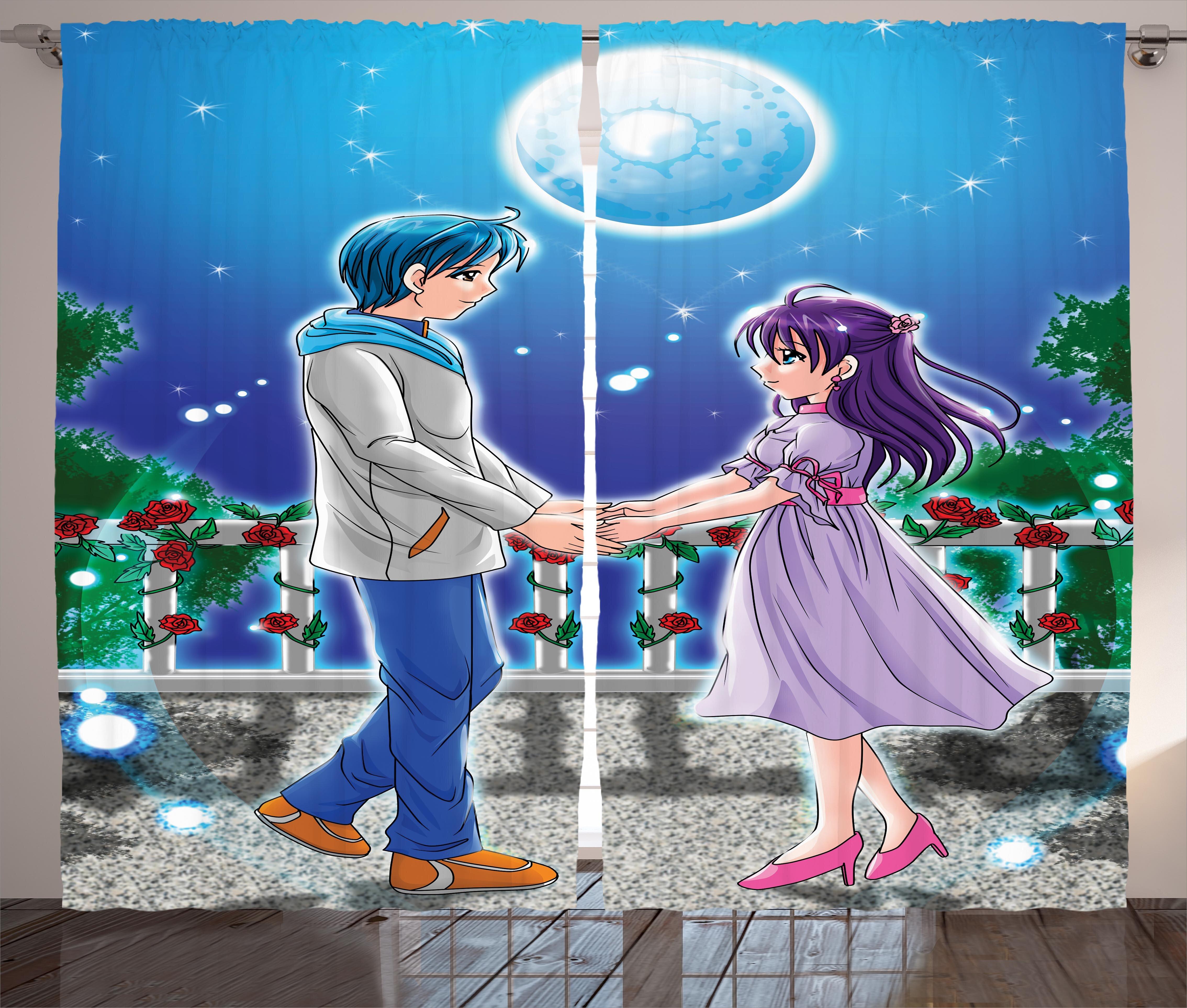 East Urban Home Anime Illustration Of Romantic Couple Holding Hands Under Moonlight Love In Manga Themed Print Graphic Print Text Semi Sheer Rod Pocket Curtain Panels Wayfair