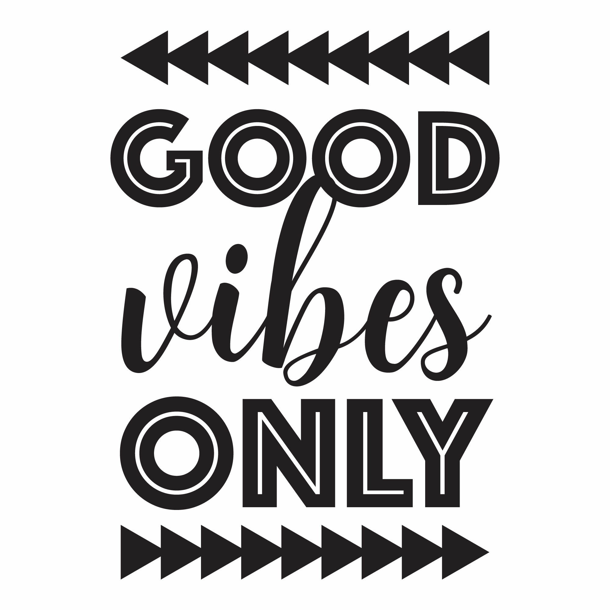 Good Vibes Quotes   Belvedere Designs Llc Good Vibes Only Trendy Dorm Wall Quotes Decal