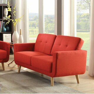 Loveseat, Red Linen by Latitude Run SKU:BA189994 Guide