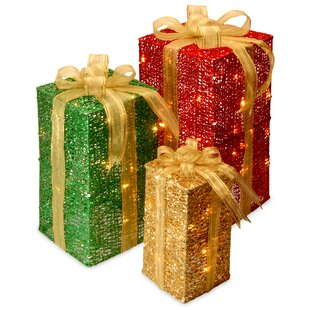 3 piece sisal gift box lighted display