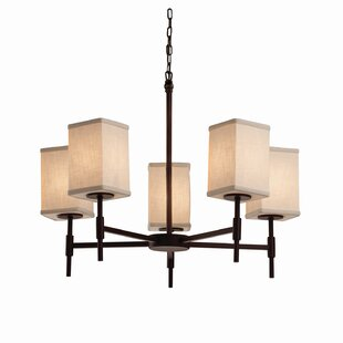 Latitude Run Red Hook 5 Light Square w/ Flat Rim Candle Chandelier