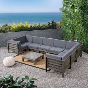 Kronqui 9 Piece Teak Sectional Seating Group with Cushions